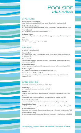 Customize Poolside Menu Long