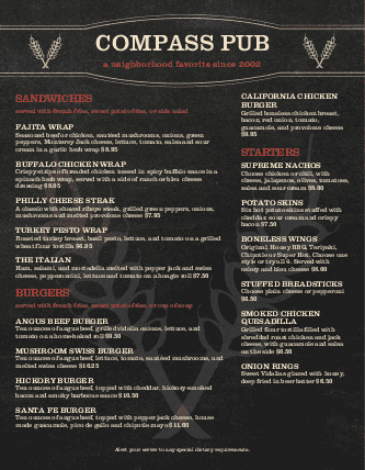 Customize Pub Food Menu