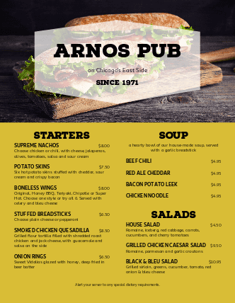 Customize Pub Grill Menu