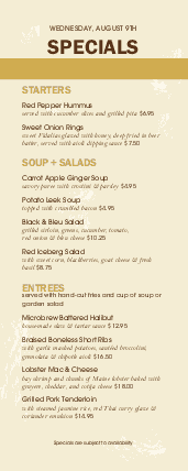 Customize Public House Half Page Menu