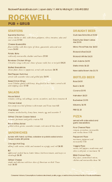 Customize Public House Menu