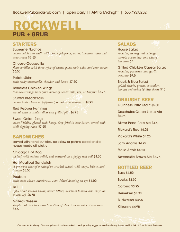 Public House Food Menu