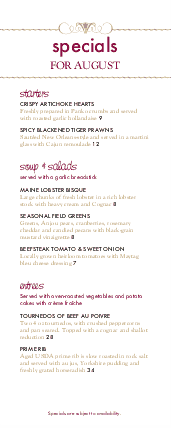 Customize Red Wine Specials Menu