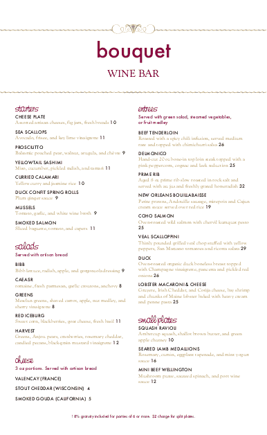 Customize Red Wine Menu Long