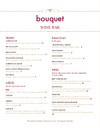 Customize Red Wine Menu