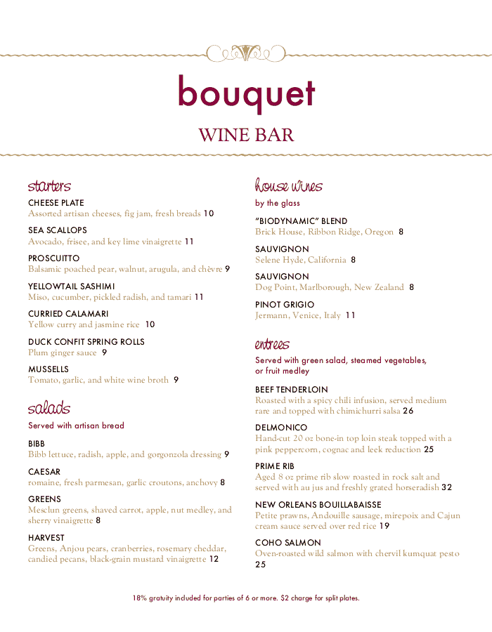 Red Wine Menu Long