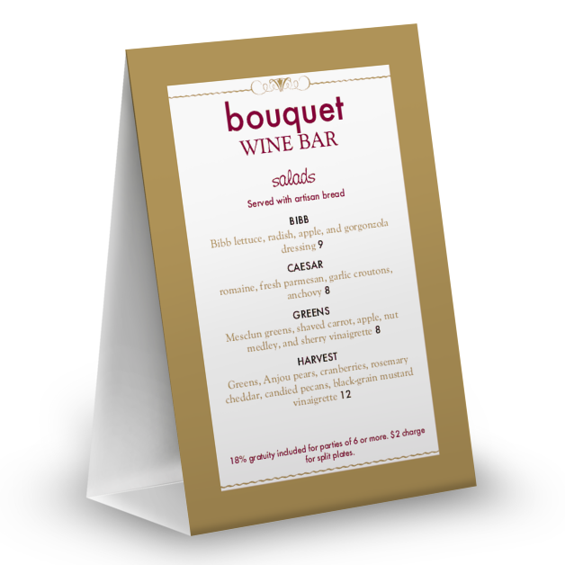 Customize Red Wine Table Tent Menu