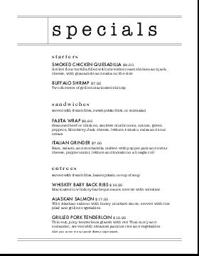 Restaurant Daily Special Menu