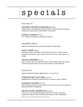 Customize Restaurant Daily Special Menu