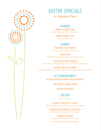 Customize Restaurant Easter Menu