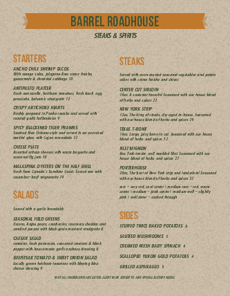 Customize Roadhouse Menu