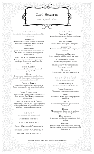 Customize Rococo French Menu Long