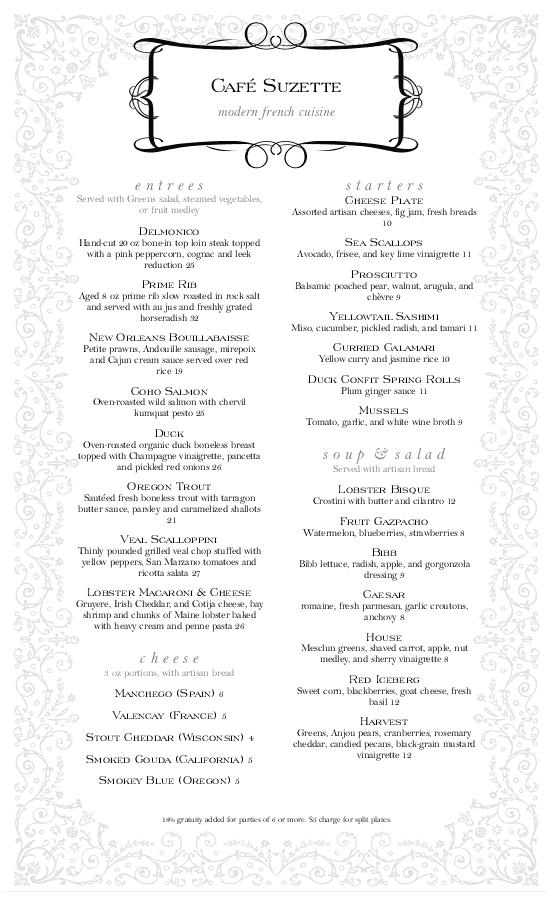 classical french menu