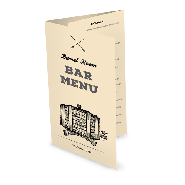 Customize Rustic Bar Folded Menu