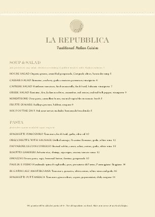 Customize A4 Rustic Italian Menu
