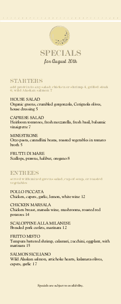 Customize Rustic Italian Specials Menu