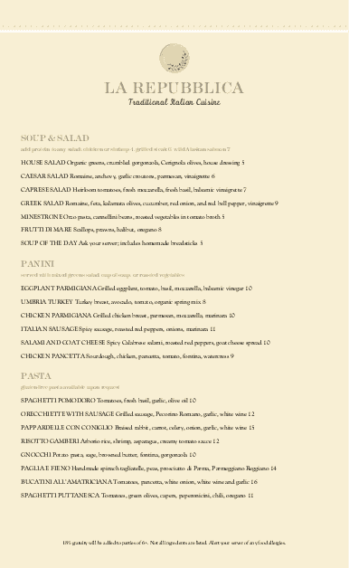 Customize Rustic Italian Menu