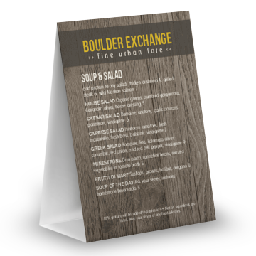 Rustic Wood Table Tent Menu
