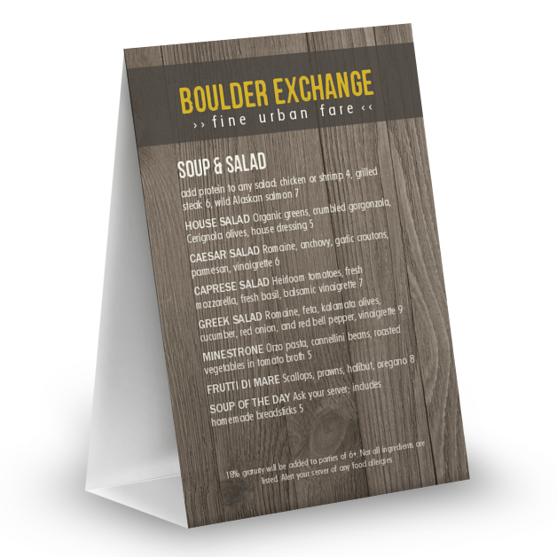 Customize Rustic Wood Table Tent Menu