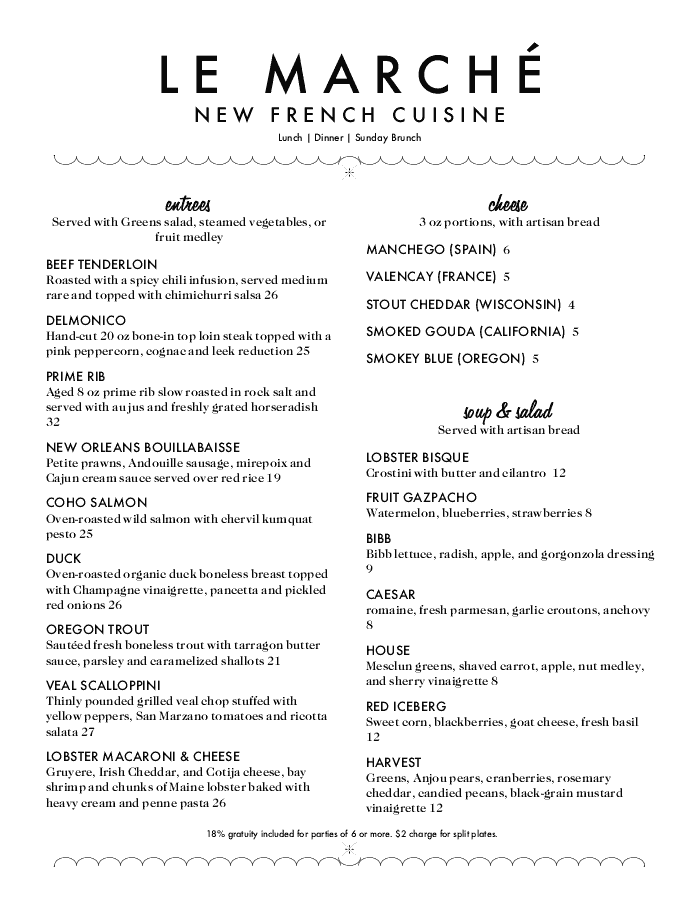 Sample French Menu