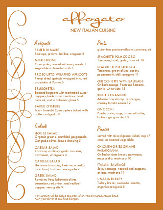 Customize Sample Italian Menu