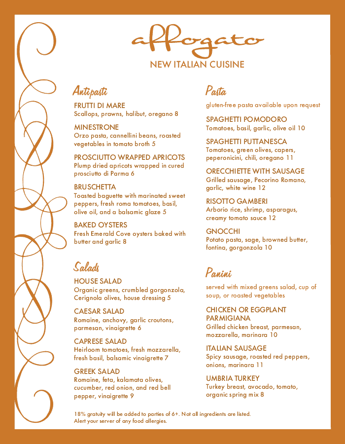 Sample Italian Menu