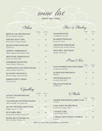 Customize Sample Wine List