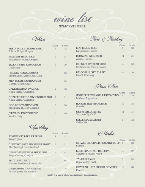 Sample wine list wine list for Wine dinner menu template