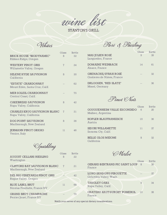summer wine list design templates by musthavemenus