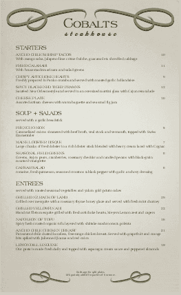 Customize Scroll Steakhouse Menu