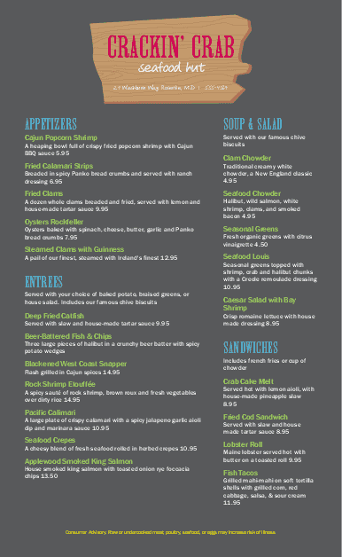 Customize Seafood Hut Menu Long