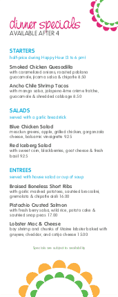 Sidewalk Cafe Lunch Specials Menu | Design Templates by MustHaveMenus