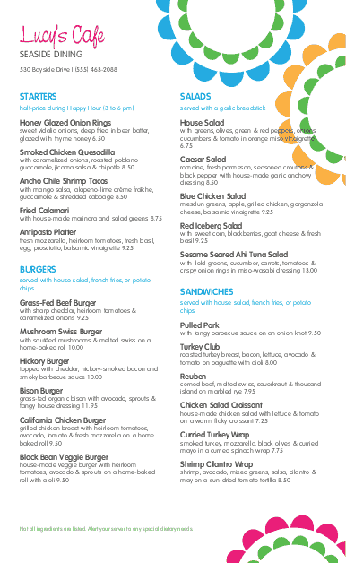 Customize Sidewalk Cafe Long Menu