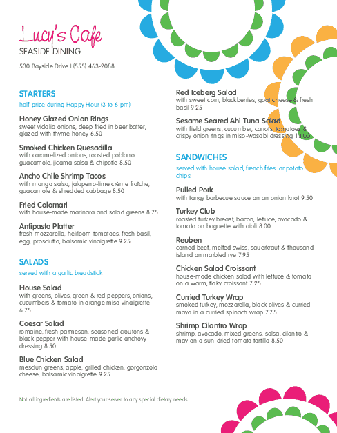 Customize Sidewalk Cafe Menu