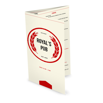 View Simple Pub Folded Menu