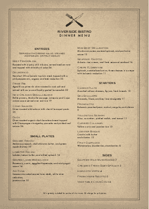 Customize A4 Slow Food Menu