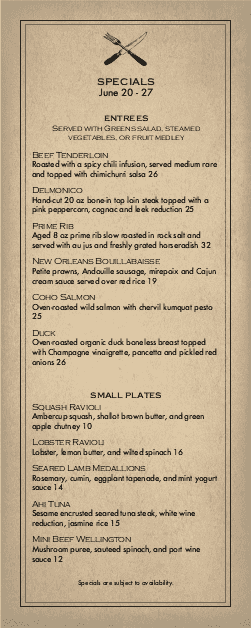 Customize Slow Food Menu Specials