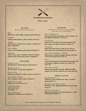 Customize Slow Food Menu