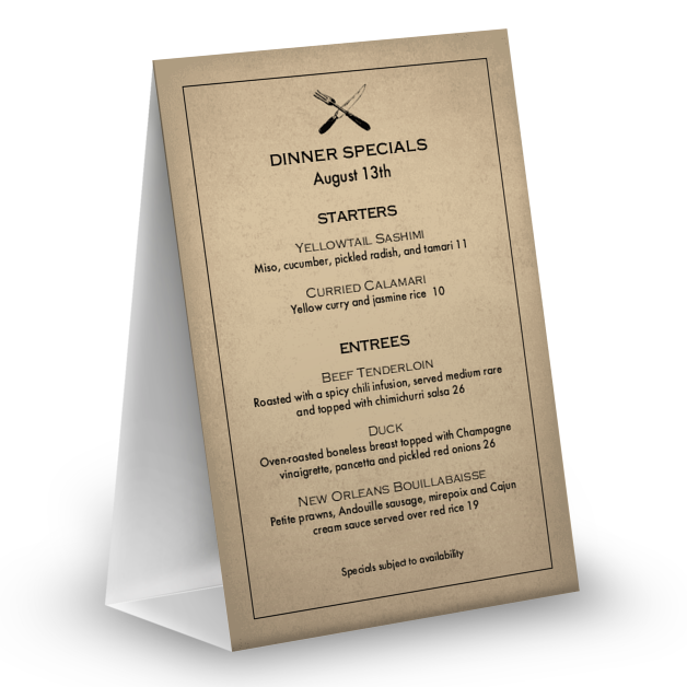 Customize Slow Food Table Tent Menu