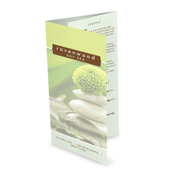 Customize Spa Treatment Trifold Menu