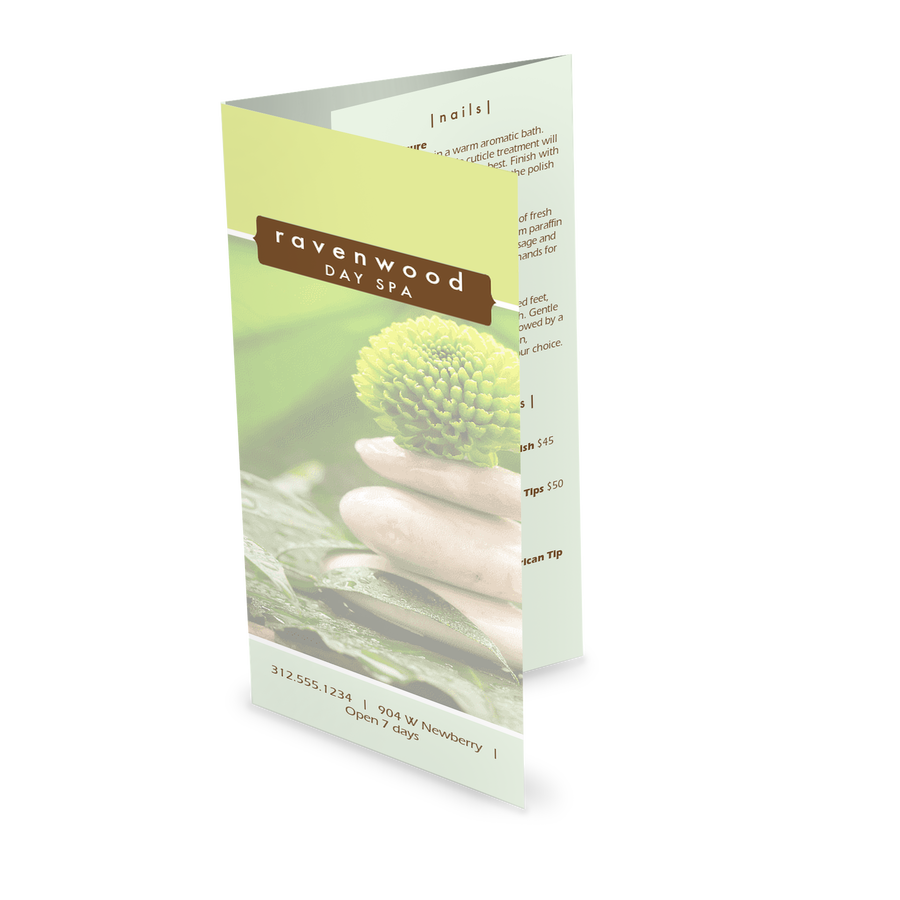 Spa Treatment Trifold Menu