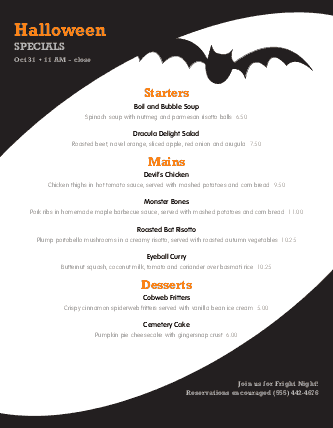 Customize Spooky Halloween Menu