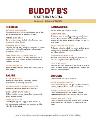 Customize Sports Bar and Grill Menu