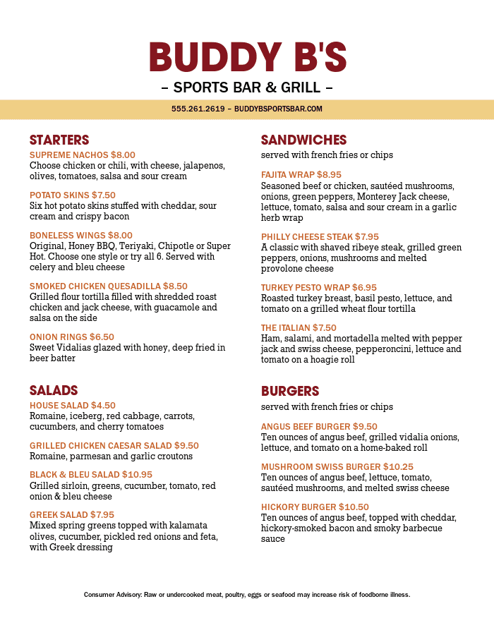 Sports Bar and Grill Menu