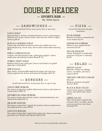 Customize Sports Bar Menu