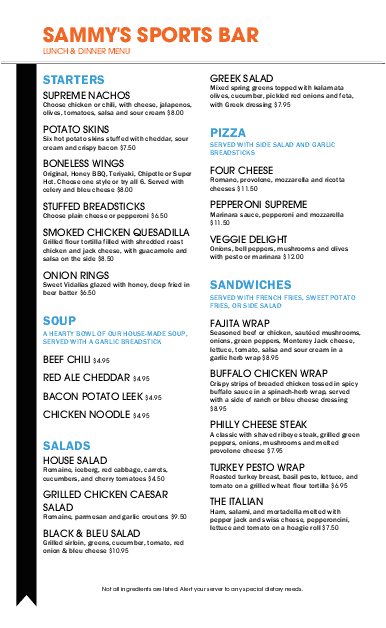 Customize Sports Grill Long Menu