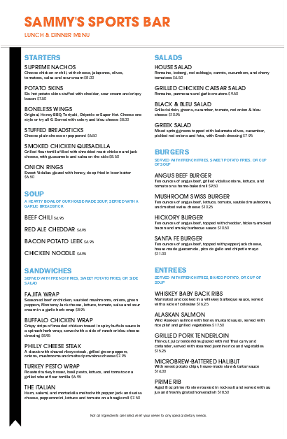 Customize Sports Grill Tabloid Menu