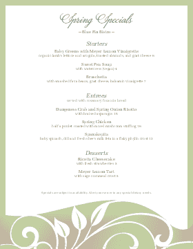 Spring Specials Restaurant Menu