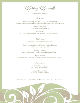 Customize Spring Specials Restaurant Menu