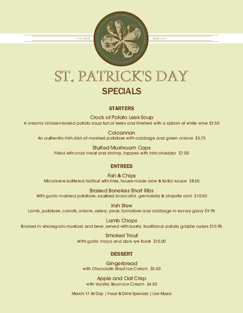 Customize St Patricks Day Event Menu